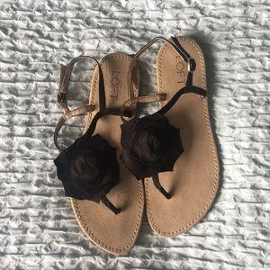 Ann Taylor LOFT black floral flower sandals